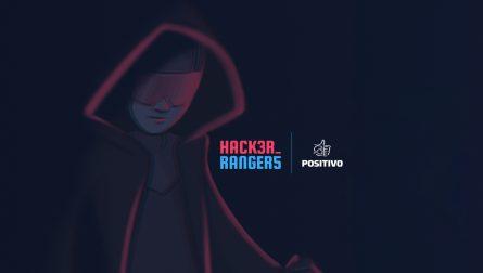 Imagem de uma pessoa com capa e óculos escuros e os logotipos do Hacker Rangers e do Positivo